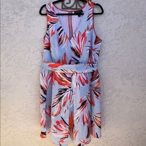 Lane Bryant Blue and Coral Fit and Flare Dress